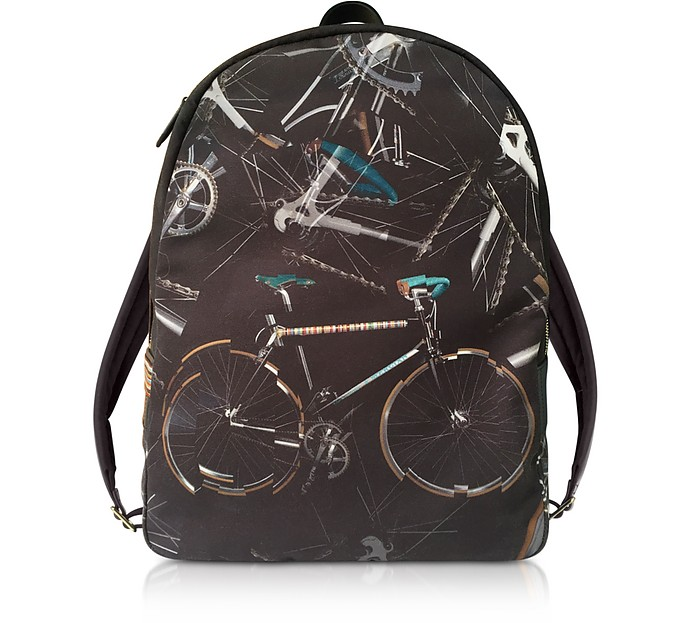 Black Canvas Bike Print Backpack - Paul Smith