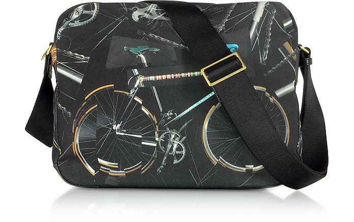 Black Canvas Bike Print Messenger Bag - Paul Smith