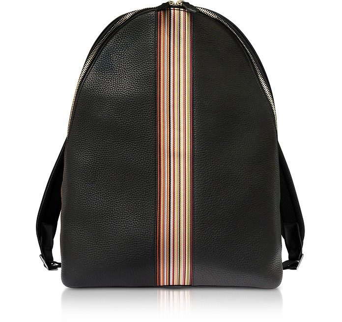 f4ca521b51 Paul Smith Black Leather New Stripe Print Backpack at FORZIERI