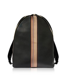 Black Leather New Stripe Print Backpack - Paul Smith / ポール スミス