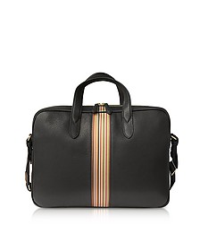 Black Leather New Stripe Print Portfolio/Men's Bag - Paul Smith