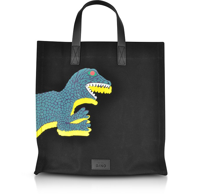 Black Dino Printed Canvas Tote Bag with Leather Handles - Paul Smith
