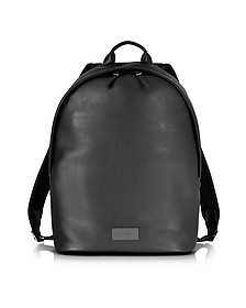 City Webbing Black Leather Backpack