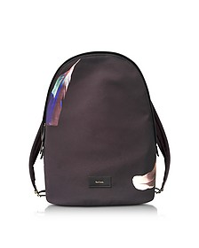 Black Canvas Feather Print Backpack - Paul Smith
