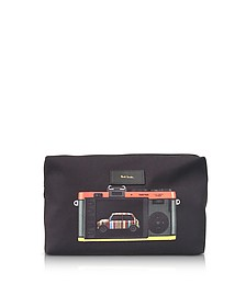 Black Canvas Leica Print Men's Wash Bag - Paul Smith