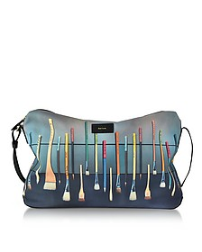 Borsa Messenger in Canvas Blu Navy con Stampa Brush - Paul Smith