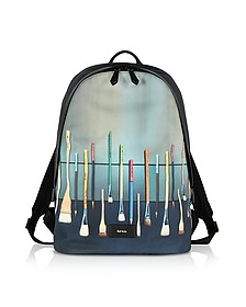 Blue Canvas Brush Print Backpack - Paul Smith