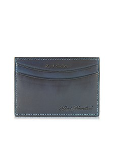 Navy Hand Burnished Leather Credit Card Case