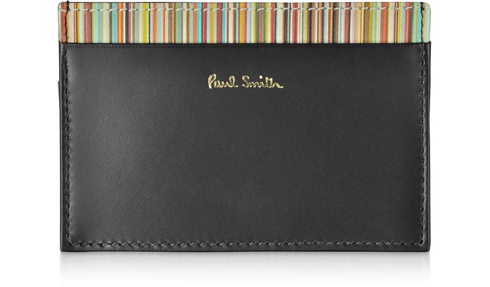 Black Leather Men's Credit Card Holder w/Signature Stripe Trim - Paul Smith