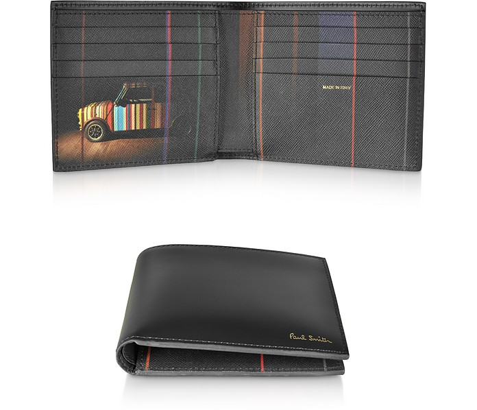 Men's Black Leather Mini Billfold Wallet - Paul Smith