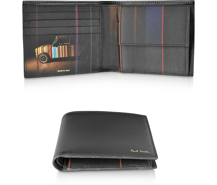 Black Leather Mini Print Men's Billfold And Coin Wallet - Paul Smith