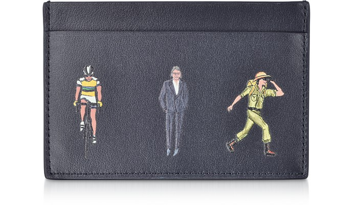 Black Leather People Print Men's Credit Card Case Wallet - Paul Smith