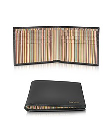 Black Leather Signature Stripe Interior Billfold Men's Wallet - Paul Smith
