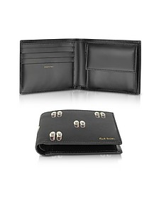 Black Leather Basso Print Men's Billfold Wallet - Paul Smith