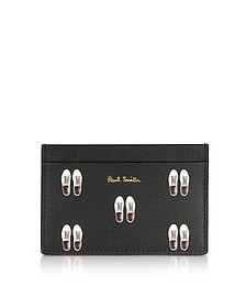 Black Leather Basso Print Men's Credit Card Holder - Paul Smith