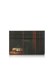 Black Mini Print Saffiano Leather Credit Card Holder - Paul Smith