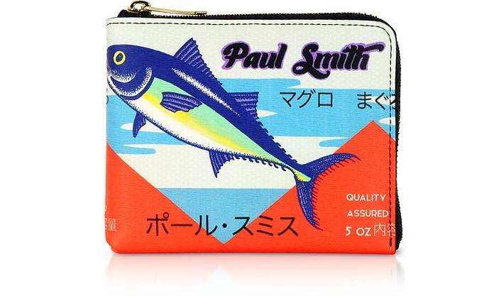 Tuna Print Leather Men's Zip Around Wallet  - Paul Smith