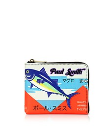 Tuna Print Leather Men's Zip Around Wallet  - Paul Smith