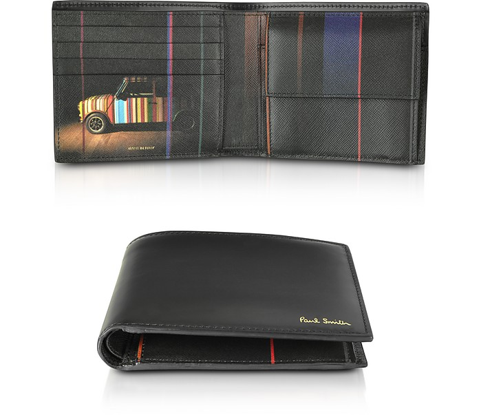 Black Leather Mini Print Interior Billfold and Coin Men's Wallet - Paul Smith