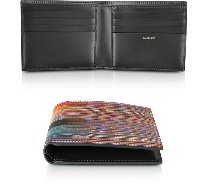 Leather Mixed Stripe Men's Billfold Wallet - Paul Smith