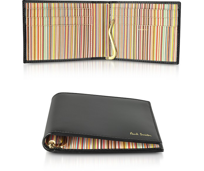Black Leather Signature Stripe Interior Money Clip Men's Wallet - Paul Smith