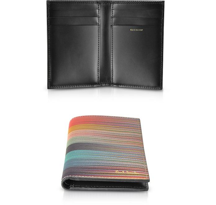 Men's Mixed-Stripe Leather Vertical Wallet - Paul Smith