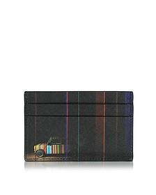 Men's Black Leather Mini Print Card Holder - Paul Smith