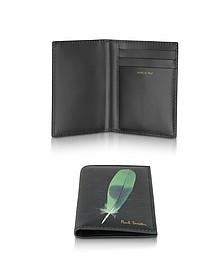Kartenetui aus bedrucktem Leder in schwarz - Paul Smith