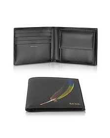 Black Feather Print Textured Leather Men's Billfold Wallet Coin Pocket - Paul Smith