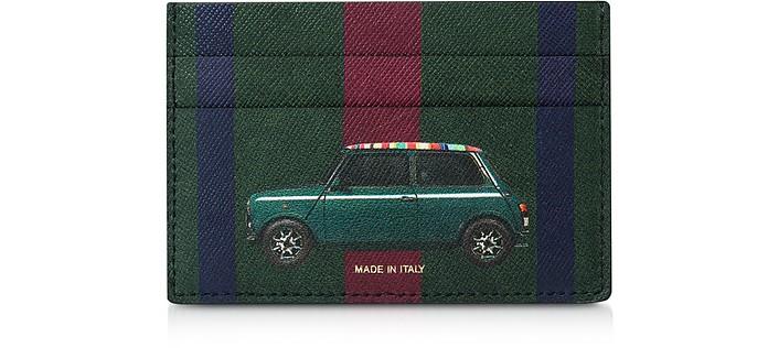 Green Leather Men's Credit Card Holder w/Mini Print - Paul Smith