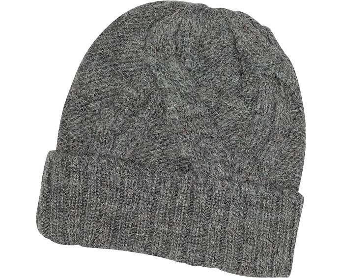 a57fd38630c934 Paul Smith Gray Men's Cable Knit Wool & Alpaca Beanie Hat at FORZIERI