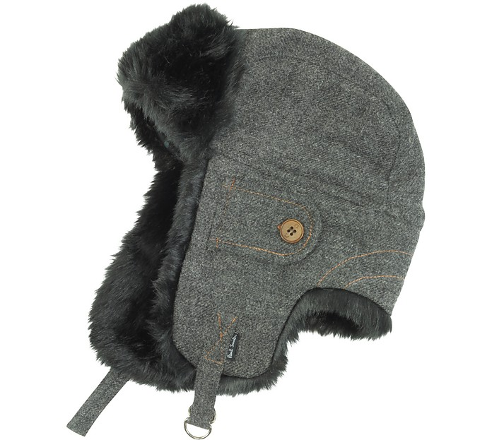 3d29ace0ad7e06 Paul Smith Men's Grey Wool Trapper Hat M | cm 57 | in 22.5 at FORZIERI