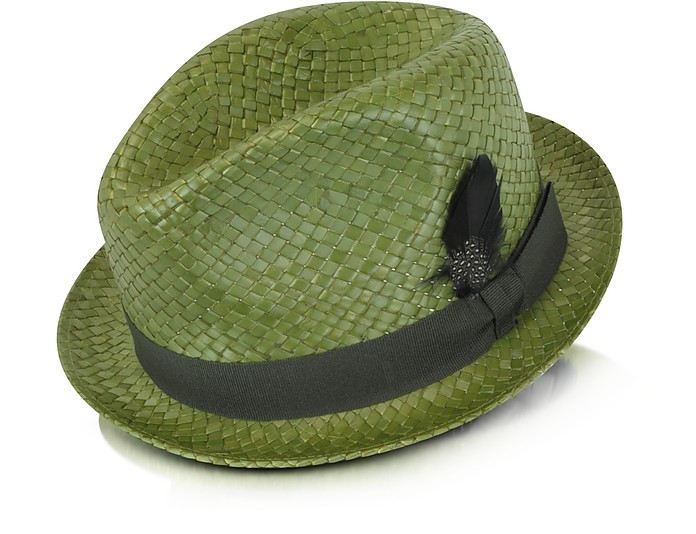 0be19d7f Paul Smith Green Straw Feather Trilby Hat at FORZIERI