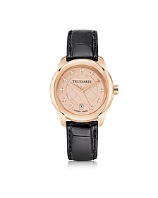 T01 Lady Rose Gold Stainless Steel and Black Leather Women's Watch - Trussardi