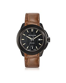 T01 Gent Black Stainless Steel w/Brown Croco Strap Men's Automatic Watch