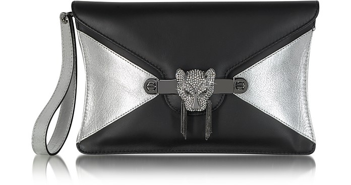 Black and Silver Leather Clutch - Thale Blanc