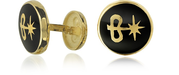 Black Enamel 18K Gold Logo Cufflinks - Torrini
