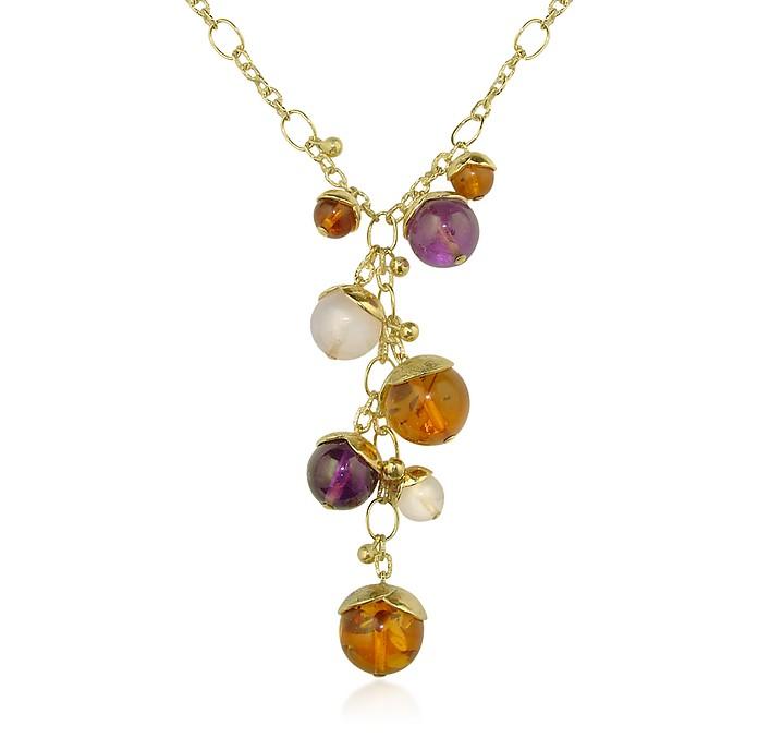 Tulipani - Gemstone Charms 18K Gold Drop  Necklace - Torrini