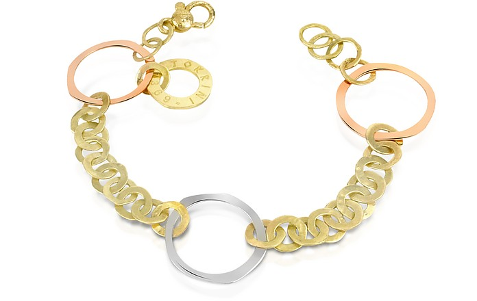 Fiesole - Three-tone 18K Gold Circles Chain Bracelet - Torrini