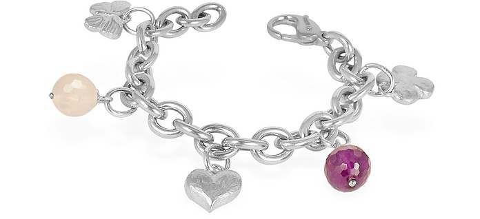 Sterling Silver and Gemstone Charm Bracelet - Torrini