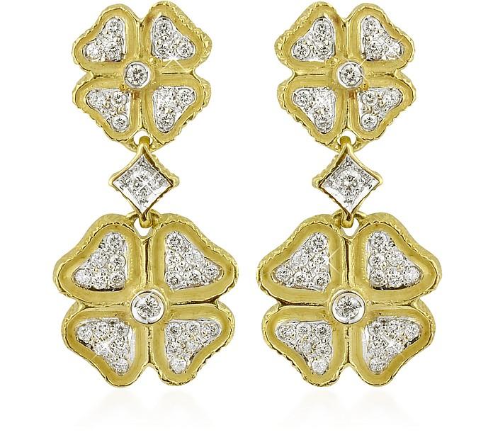 Quadrifoglio Diamond Four-Leaf Clover 18K Gold Earrings - Torrini