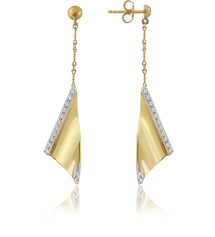 Vela - Diamond Channel 18K Yellow Gold Earrings - Torrini