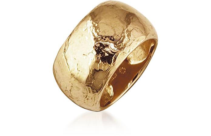Flamed Yellow Gold Maxi Ring - Torrini