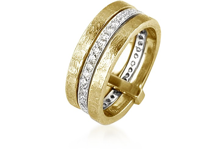 Insieme Flamed Yellow and White Gold Triple Band  Ring - Torrini