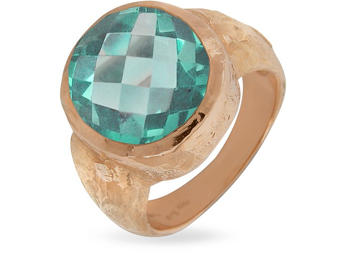 Stefy - Green Amethyst Oval Gemstone 18K Rose Gold Ring - Torrini