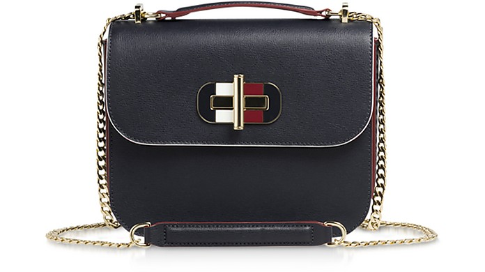 Tommy Navy Blue Turn-Lock Crossover Bag - Tommy Hilfiger