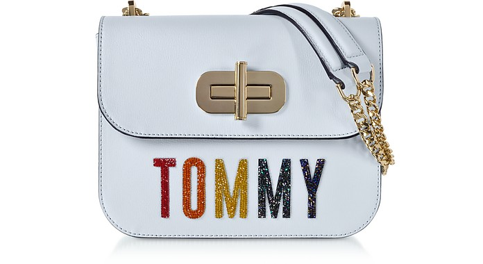 Light Blue Turn-Lock Crossover Bag w/Crystals - Tommy Hilfiger