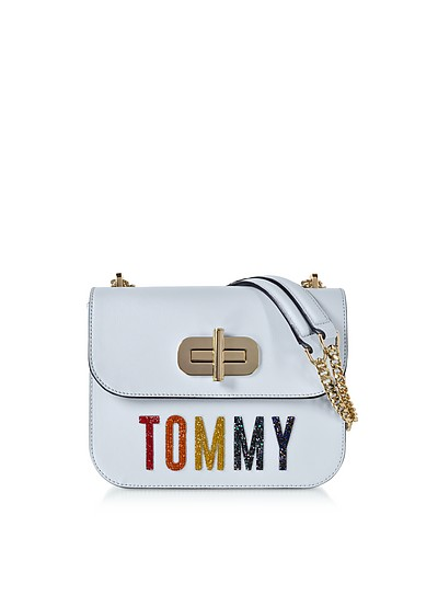 Turn-Lock Borsa Piccola a Spalla in Pelle con Logo Crystals  - Tommy Hilfiger
