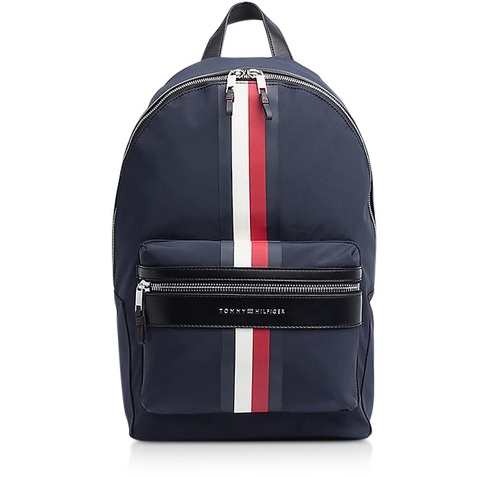 Tommy Blue Striped Nylon Elevated Backpack - Tommy Hilfiger