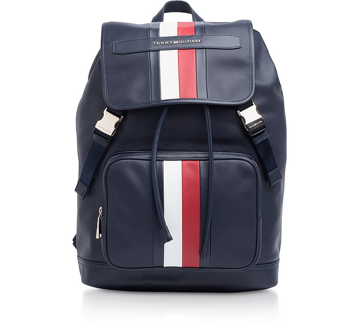 Tommy Blue Striped Leather Elevated Backpack - Tommy Hilfiger